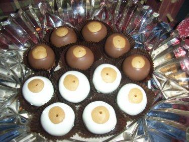 Peanut Butter White Chocolate Buckeyes  1 Dozen