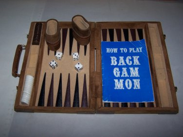 backgammon case and set suede leather and felt
