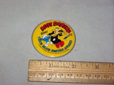 smurf button true blue smurf award most daring 1983 button