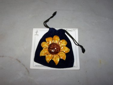 exclaymations sunflower brooche hand made 22k gold trim nip