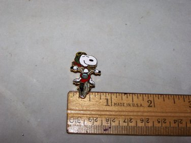 snoopy motorcycle riding snoopy enameled pin