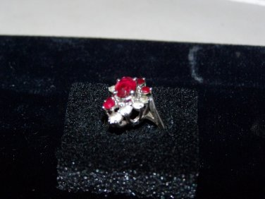 sterling red and white stone ring womans vintage ring