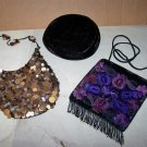 bests apparel seatle hat, sequined purse fringed purse lot