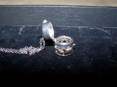 pill box necklace with hinge hearts and dolphin