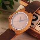 Luxury Men's Women's Bamboo Wood Watch Quartz PU Leather Wristwatches HC