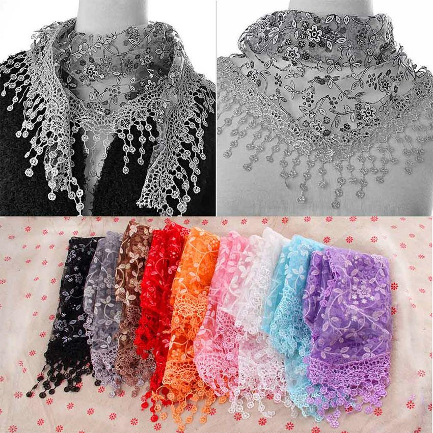 Fashion Women Lace Sheer Floral Print Triangle Veil Scarf Shawl Wrap Tassel HC