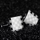 Stainless Steel Silver Vintage Men's Wedding Gift Classical Grid Cuff Links HC