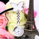 Cute Pendant Butterfly Nurse Clip-on Brooch Quartz Hanging Pocket Watch New HC