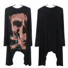 Punk Goth Women Long Sleeve Skull Print Long Casual Top T-Shirt Tee Blouse HC