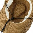 Men's Drawstring Collapsible Cowboy Hat Large Brim Straw Beach Panama Hat Cap HC