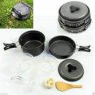 8pcs Outdoor Camping Hiking Cookware Backpacking Cooking Picnic Bowl Pot Pan HC