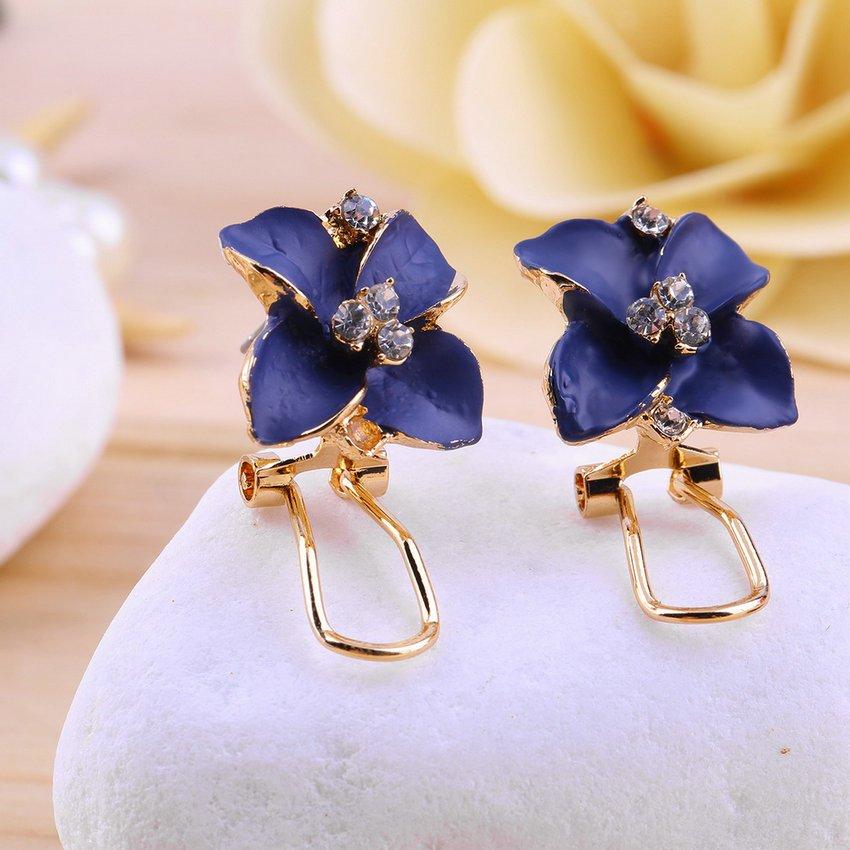 1 Pair Fashion Blue Camellia Faux Crystal Ear Stud Earrings Elegant Jewelry HC