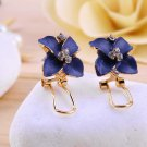 1 Pair Fashion Blue Camellia Faux Crystal Ear Stud Earrings Elegant Jewelry HC