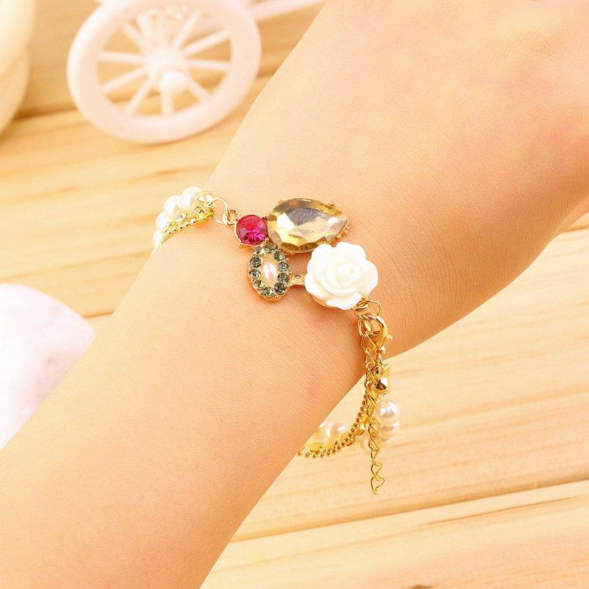 Pretty Women Girl Charming Multilayer Pearl Flower Rhinestone Chain Bracelet HC
