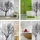 Stylish Black Scenery Tree Design Bathroom Waterproof Fabric Shower Curtain HC