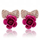 New Fashionable Stud Earrings Rhinestone Bow Jewelry Elegant Sweet Cute Rose HC