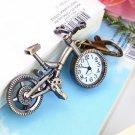 Unique Collection Bronze Alloy Bicycle Quartz Pocket Watch Pendant Necklace HC