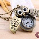 Hot Cartoon Retro Bronze Owl Pocket Watch Sweater Chain Necklace Slide Watch HC