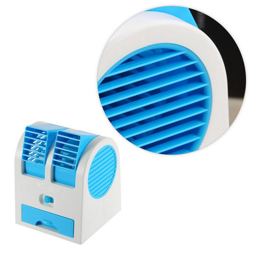 Mini Small Fan Cooling Portable Desktop Dual Bladeless Air Conditioner USB HC