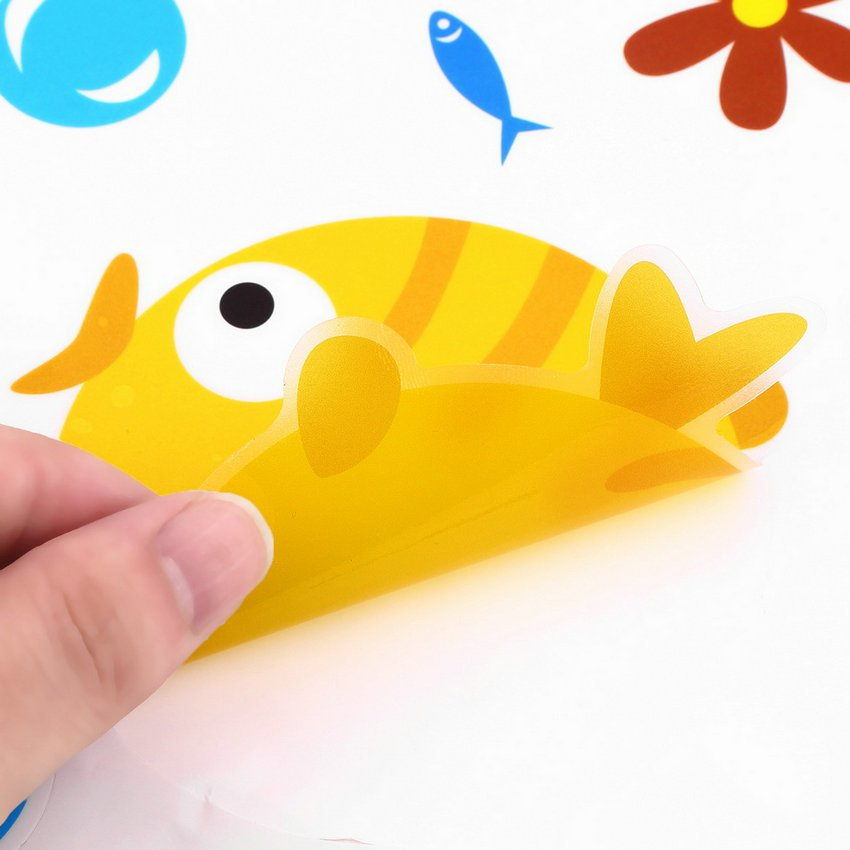 Colorful Cartoon Fish for Bathroom Art Sticker Decoration indoor Wall sticker HC
