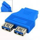 Motherboard 2 Ports USB3.0 A Female to 20 Pin Header Female Connector Adapter HC