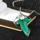 Lord of The Rings Green Leaf Elven Pin Brooch Pendant With Chain Necklace HC