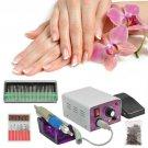 30000RPM Electric Nail Art Drill File Manicure Polish Machine 6 Grinding Head HC