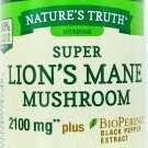 2100mg Super Lions Mane Mushroom Extract Powder Capsules Bioperine Black Pepper