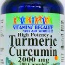 200 Capsules 2000mg Turmeric Curcumin Root Extract Pill Standardized 95% VB