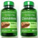 2 Bottles 500mg Cinnamon Bark 100/200 Capsules Herbal Sugar Metabolism Support