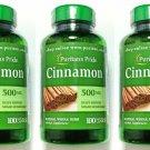3 Bottles 500mg Cinnamon Bark 100/300 Capsules Herbal Sugar Metabolism Support
