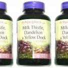 3 Bottles 180/540 Capsule Milk Thistle, Dandelion, Yellow Dock, Extract Complex
