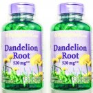 2 Bottles 520mg Dandelion Root 4:1 Extract 180/360 Capsules