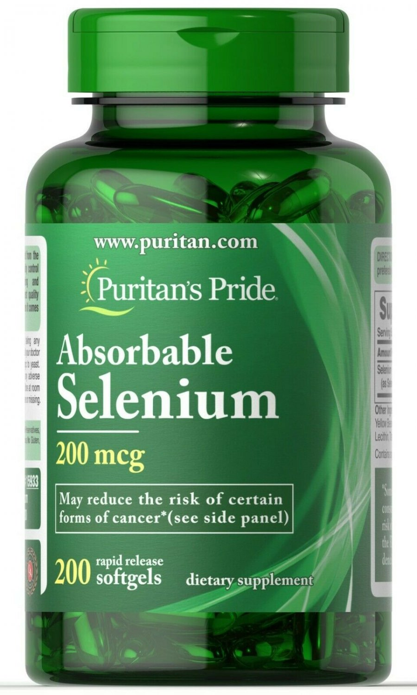 Puritan's Pride Absorbable Selenium 200 Rapid Release Softgels 200 mcg