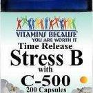 Vitamins Because Stress B with Vitamin C-500 200 Capsules