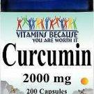Vitamins Because Curcumin 2000 mg 200 Capsules (Or 2x100)