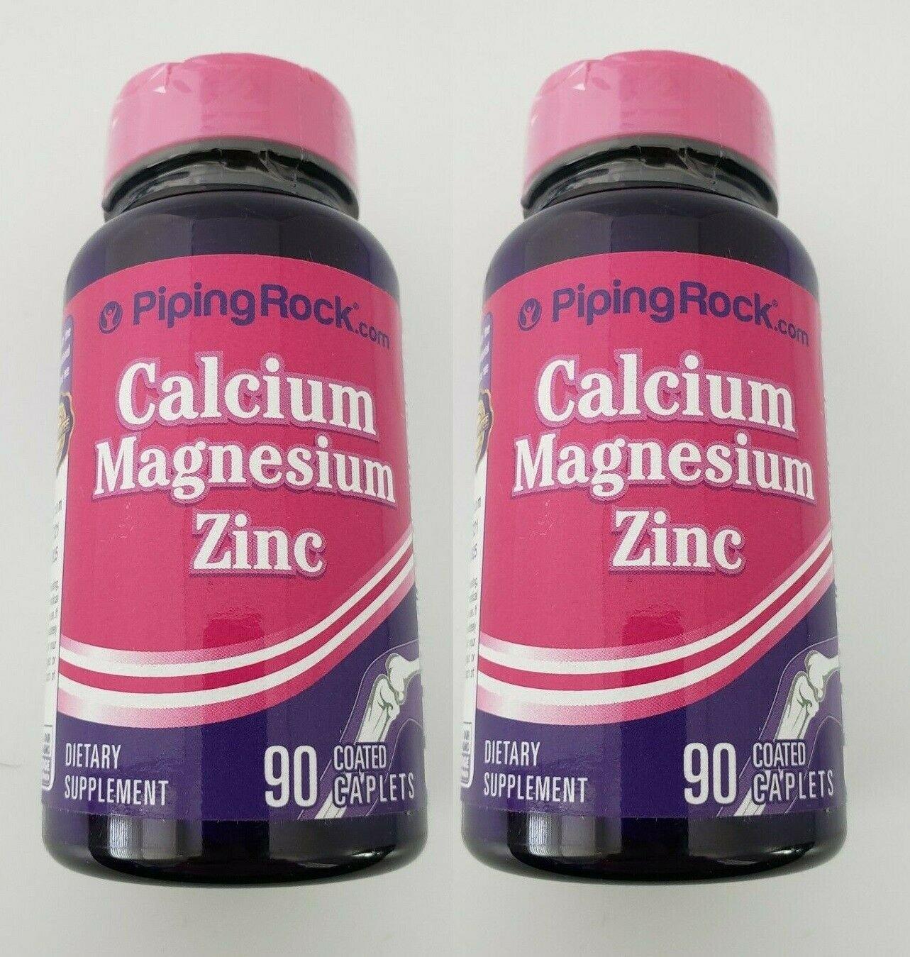Piping Rock Calcium Magnesium Zinc (per serving) 180 Coated Caplets (2x90)