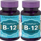 Piping Rock B Complex Plus Vitamin B-12 2 Pack 360 Quick Release Tablets (2x180)