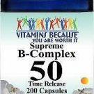 Vitamins Because Supreme B-Complex 50 Time Release 200 Capsules