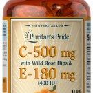Puritan's Pride Vitamin C & E 500 mg/400 IU with Rose Hips 100 Softgels