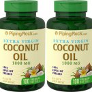 Piping Rock Coconut Oil (Extra Virgin) 1000 mg 2 Pack 200 Quick Release Softgels