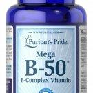 Puritan's Pride Mega B-50 B-Complex Vitamin 100 Easy to Swallow Coated Caplets