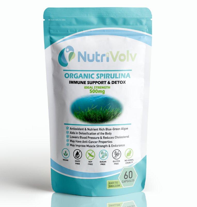 Organic Spirulina 500mg - 60 Capsules - Detox Immune Antioxidant Weight Loss