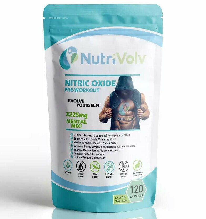 Nitric Oxide L-Arginine Pre Workout - 120 Capsules - Power Strength Muscle Pump