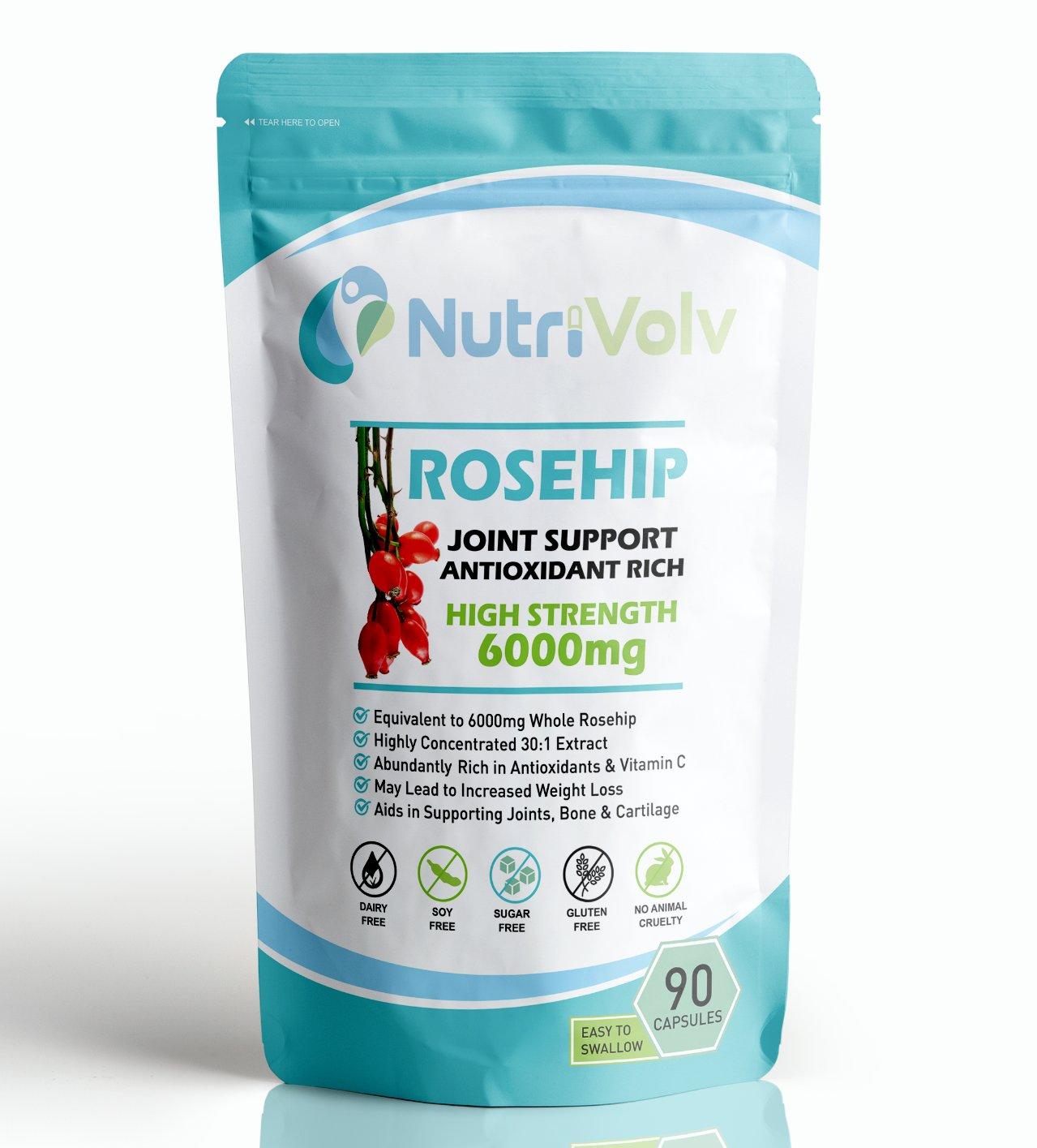 Rosehip 6000mg - 90 Capsules - Joint Health Arthritis Support Antioxidant UK