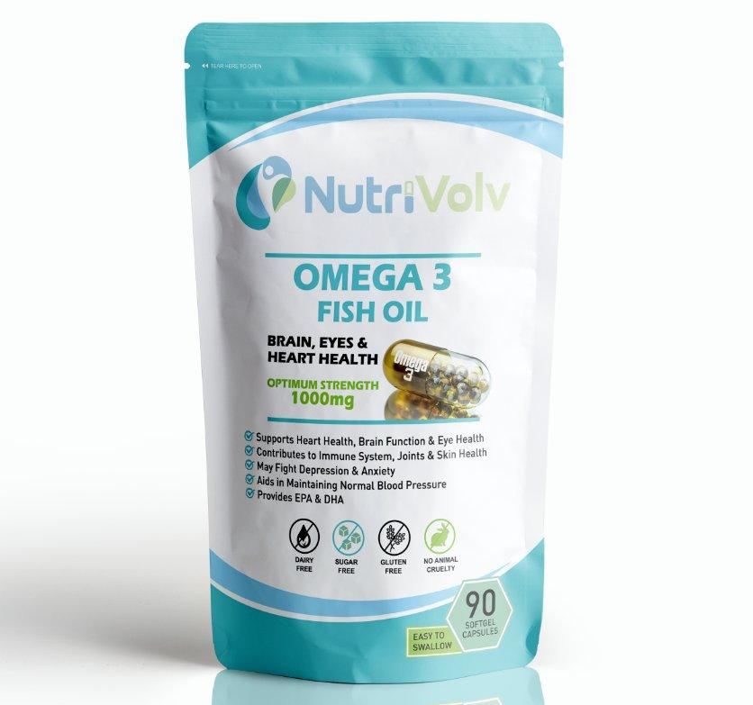Omega 3 Fish Oil 90 Softgel Capsules Fatty Acids Heart Brain Eye Health EPA DHA