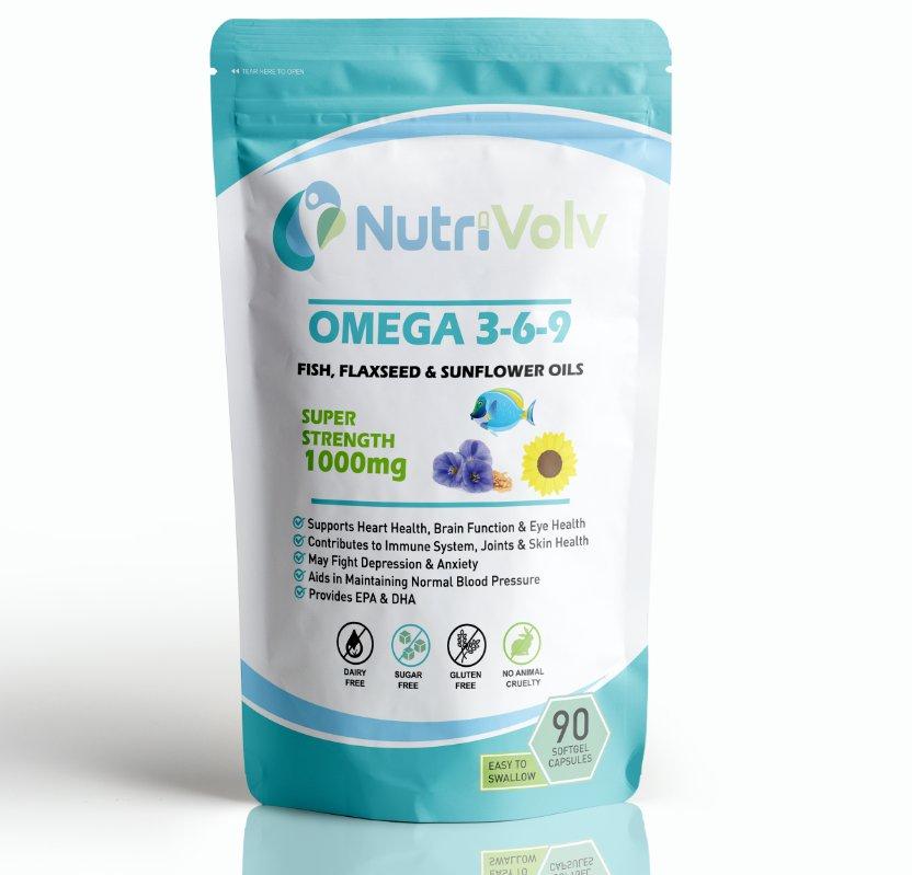 Omega 3 6 9 - 90 Capsules - Fish Oil Flaxseed Heart Brain Eye Health EPA DHA