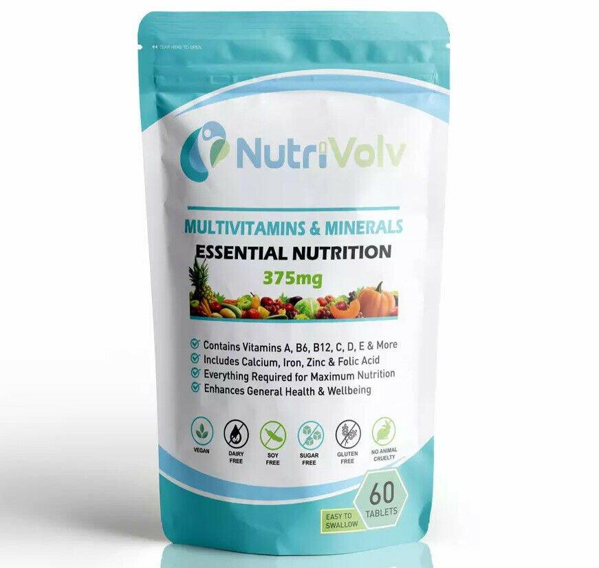 NutriVolv Multi Vitamins Minerals 360 Tablets 1 A Day Essential Nutrition A-Z