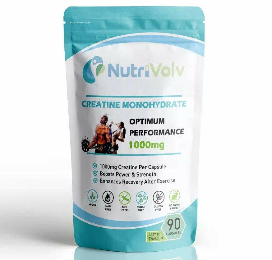 NutriVolv - Creatine Monohydrate Pure 1000mg - 1 Month Supply - Muscle Strength