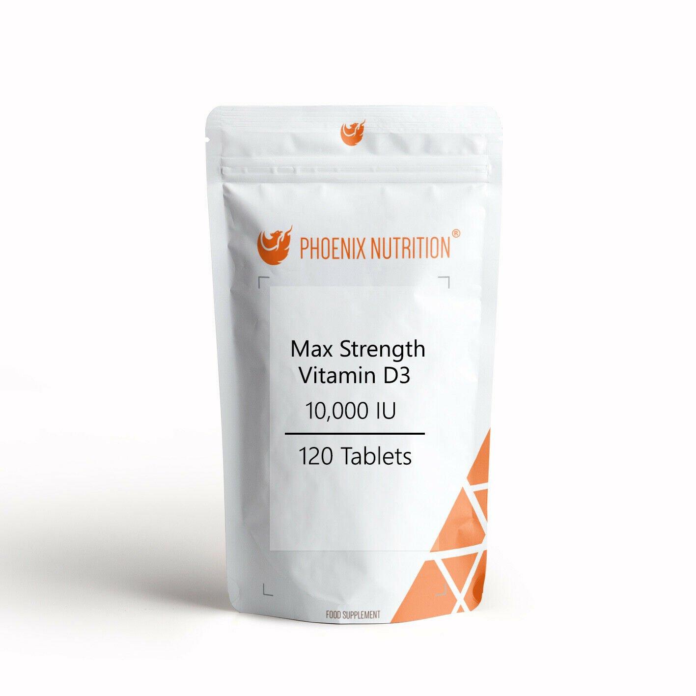 Max Strength Vitamin D3 10,000IU x 120 Tablets - Cholecalciferol D 250mcg